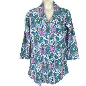 World Market Peacock Print Night Gown L/XL